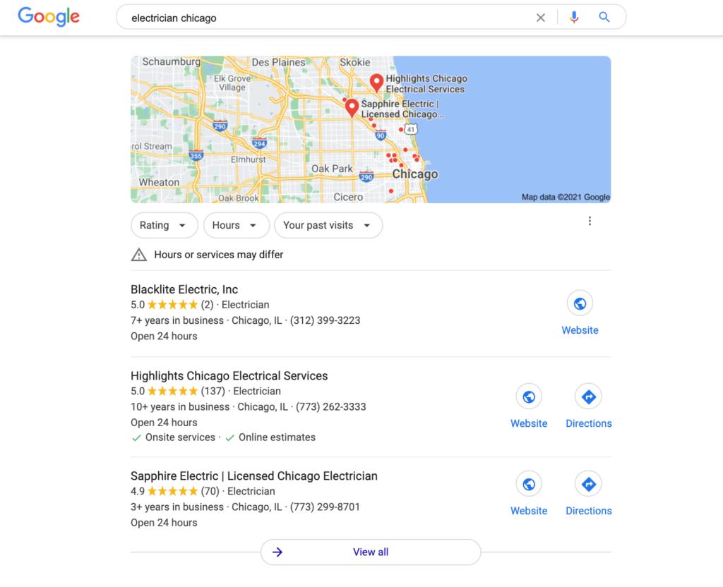 google's local three pack seo